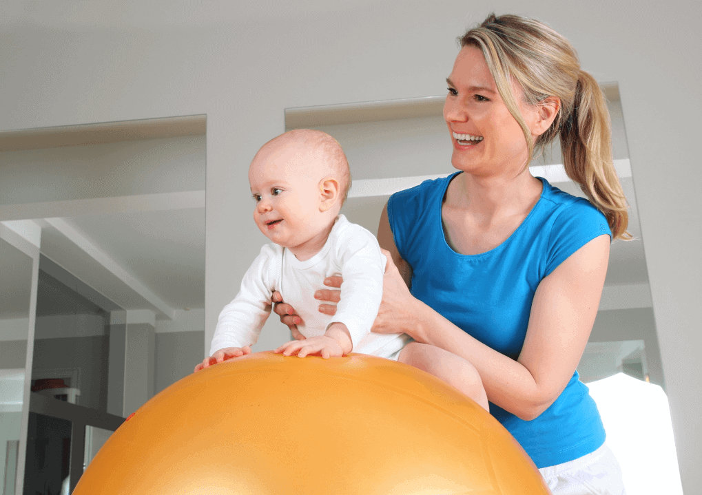 baby on therapy ball